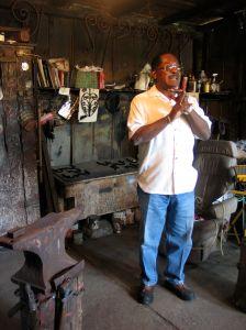 Alphonso Brown in Philip Simmon's workshop