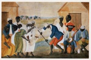 The Old Plantation. Anonymous folk painting, South Carolina, c.1777-1794. (The Abbey Aldrich Rockefeller Folk Art Museum, Colonial Williamsburg, VA)
