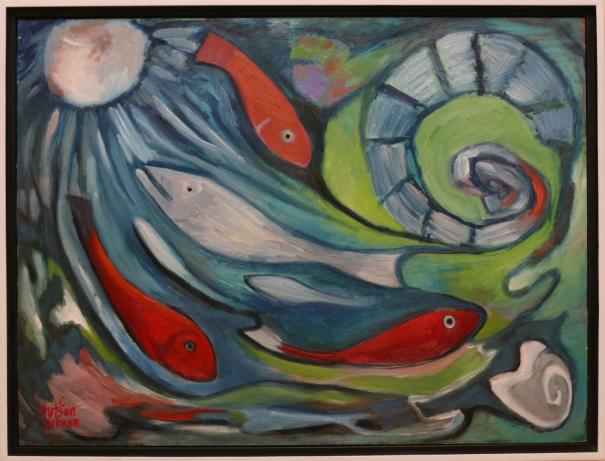 "Circles of Fish 24""x18"" ©'13C.HutsonWrenn"