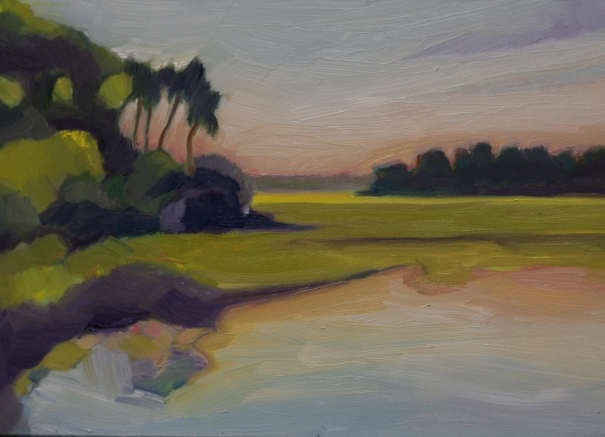 "Store Creek. Edisto Island. 7""x 5"" oil on panel. ©2013 C.HutsonWrenn"