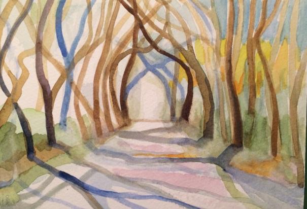 """7""""x 5"""" watercolor ©2014 Charlotte Hutson Wrenn"""