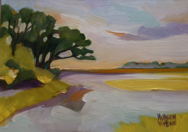 "Botany Bay Preserve ©2014 C Hutson Wrenn 7""x 5"" oil on panel"