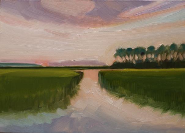 "Frampton Creek at Cowpens, oil on panel 7""x 5"" ©2014 C Hutson Wrenn"