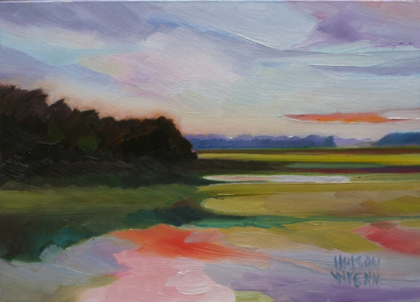 "Russell Creek 7""x 5"" oil on panel ©2014 C Hutson Wrenn"