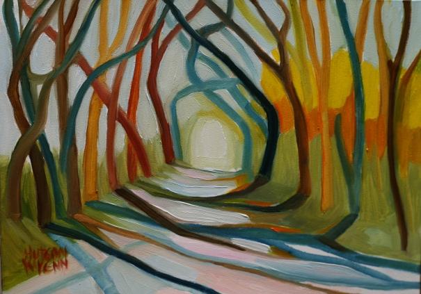 "Tree Allee 7""x 5"" oil on panel ©2014 C Hutson Wrenn"